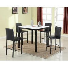 5PC WHITE FAUX MARBLE WITH METAL LEG PUB SET (5 IN 1)