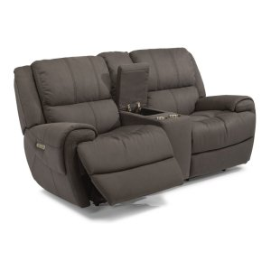 FLEXSTEELNance Fabric Power Reclining Loveseat with Console and Power Headrests