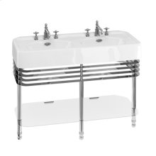 "Arcade 47"" Double Basin Console Set with Metal Base - 3 Faucet Holes, Polished Chrome"