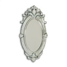 Hand Cut and Etched Oval Venetian Glass Mirror Frame, Beveled Mirror Glass
