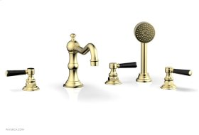 HENRI Deck Tub Set with Hand Shower with Marble Handles 161-50 - Polished Brass Uncoated