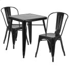 23.75'' Square Black Metal Indoor-Outdoor Table Set with 2 Stack Chairs Product Image