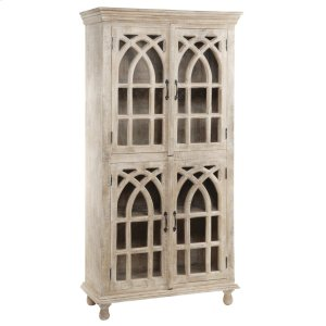 CRESTVIEW COLLECTIONSBENGAL MANOR LIGHT MANGO WOOD CATHEDRAL DESIGN 4 DOOR CABINET