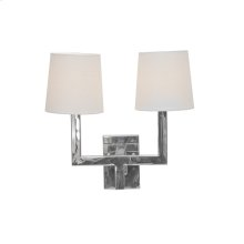 Nickel Plated 2 Arm Sconce With White Linen Shades