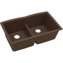 "Elkay Quartz Classic 33"" x 19"" x 10"", Equal Double Bowl Undermount Sink with Aqua Divide, Pecan"