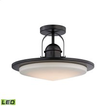 Montebello 1-Light Semi Flush in Oiled Bronze with Opal Glass - Integrated LED