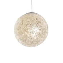 Inlaid Capiz Ball Pendant In Dot Pattern With Single 60 W Socket. Comes With 3' White Cord and Canopy.