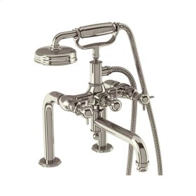 Arcade Crosshead Exposed Two Handle Tub Faucet with Handshower - Polished Nickel