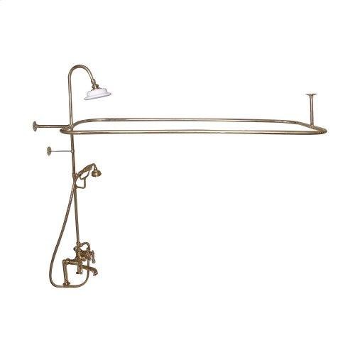 Rectangular Shower Unit - Metal Lever 2 Handles - Polished Brass