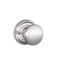 Andover Knob with Andover trim Non-turning Lock - Bright Chrome