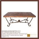 Rectangular Dining Table Iron Chocolate Finish Copper Hammered Natural Copper Top Product Image