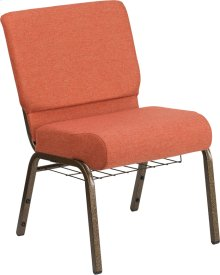 HERCULES Series 21''W Church Chair in Cinnamon Fabric with Book Rack - Gold Vein Frame