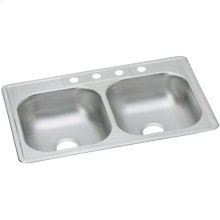 """Dayton Stainless Steel 33"""" x 22"""" x 6-9/16"""", Equal Double Bowl Drop-in Sink"""
