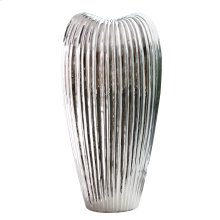 Ribbed Electroplated Ceramic Vase - Tall
