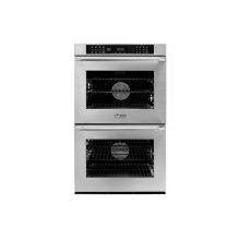 "30"" Heritage Double Wall Oven, Silver Stainless Steel with Epicure Style Handle (Chrome End Caps)"