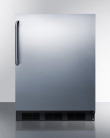 ADA Compliant Freestanding All-refrigerator for Residential Use, Auto Defrost With Black Cabinet, Stainless Steel Wrapped Door, and Towel Bar Handle