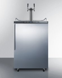 Built-in Residential Beer Dispenser, Auto Defrost With Digital Thermostat, Dual Tap System, Stainless Steel Door, Thin Handle, and Black Cabinet