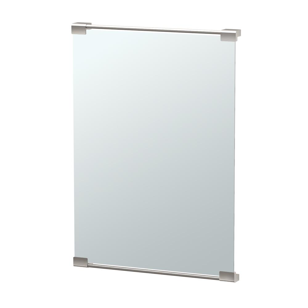 Fixed Mount Decor Mirror in Satin Nickel