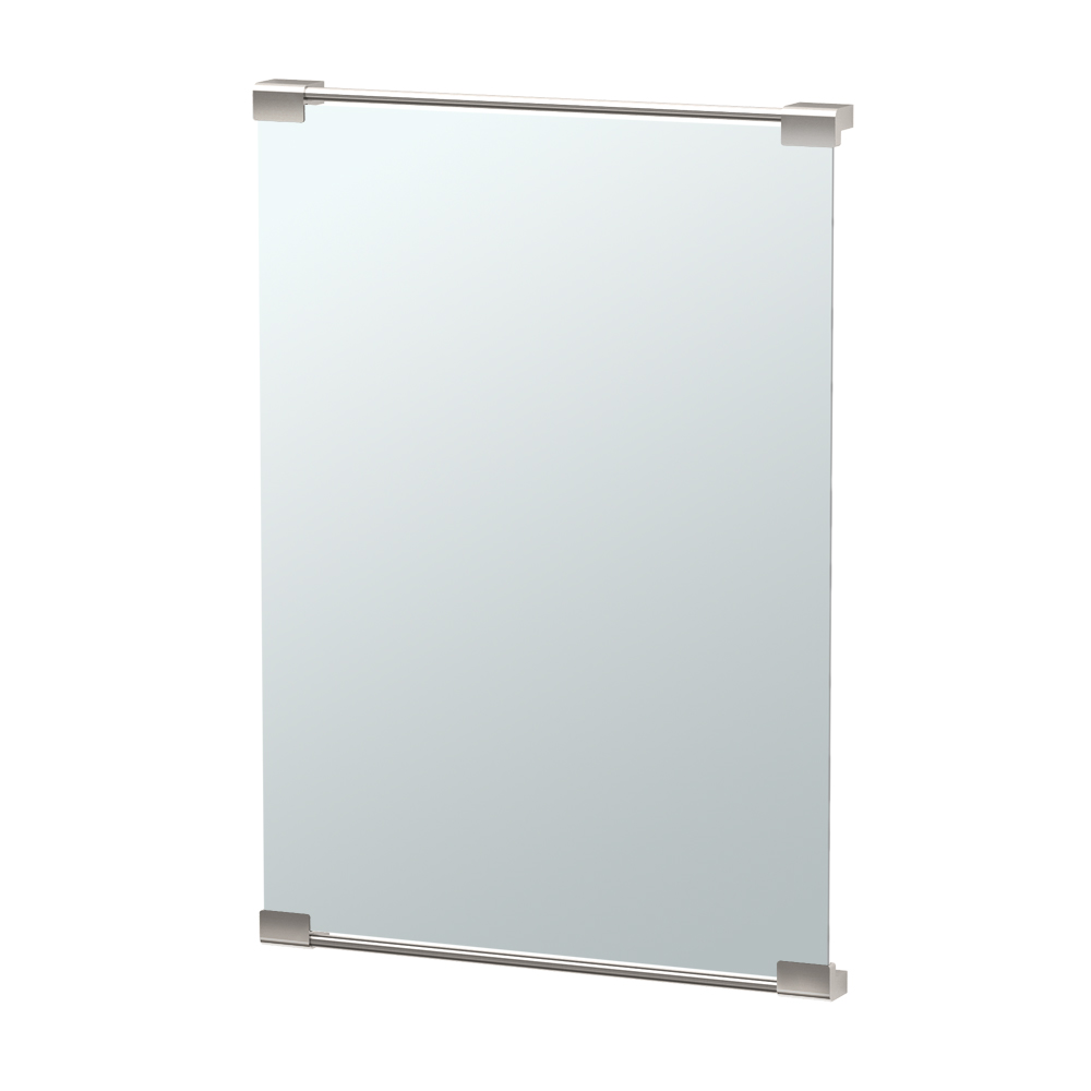 Fixed Mount Decor Mirror in Satin Nickel