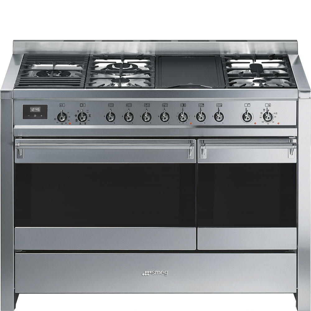 "SmegFree-Standing Dual Fuel Dual Cavity &Quot;opera"" Range Approx. 48"" Stainless Steel Gas Rangetop With Electric Grill"