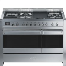 """Free-standing Dual Fuel Dual Cavity """"Opera"""" Range Approx. 48"""" Stainless Steel Gas Rangetop With Electric Grill"""