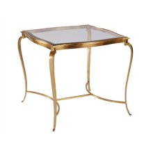 Satina Finished Brass Occasional Table with Inset Beveled Glass Top