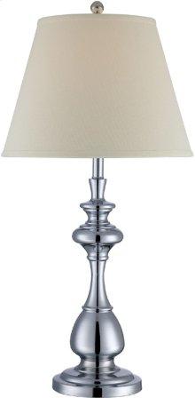 Table Lamp, Chrome/off-white Fabric Shade, E27 Cfl 23w