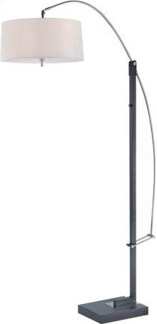Adjustable Arch Lamp, Black/chrome/wht Fabric, E27 Cfl 23wx3