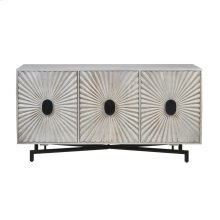 "Mango Wood 69"" Sunburst 3 Door Console, White"