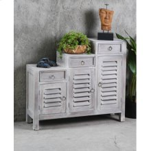 CC-CAB1181LD-SW  Three Tiered Cottage Shutter Cabinet  Distressed Light Gray