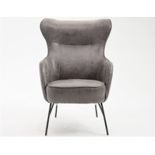 Emerald Home Franky Accent Chair-charcoal Leather-look Cover With Black Metal Legs-u3327-05-03