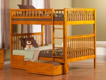 Woodland Bunk Bed Full over Full with Flat Panel Bed Drawers in Caramel Latte