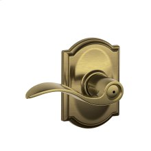 Accent Lever with Camelot trim Bed & Bath Lock - Antique Brass