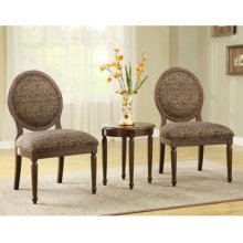 3-Pc. Set - 2 Round Back Accent Chairs with Leopard Print Fabric & 1 Round End Table