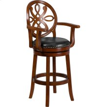 30'' High Brandy Wood Barstool with Arms, Carved Back and Black Leather Swivel Seat
