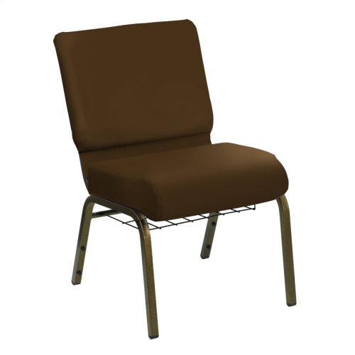HERCULES Series 21''W Church Chair in E-Z Madrid Saddle Vinyl with Book Rack - Gold Vein Frame
