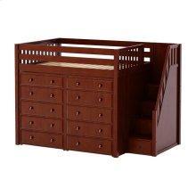 High Loft w/ Staircase & 2 x 5 Drawer Dressers : Full : Chestnut : Slat