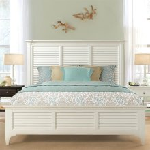 Myra - King Louver Bed - Paperwhite Finish