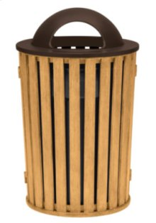 District Round Waste Receptacle with Dome Hood, Faux Wood Slat