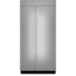 42-inch Stainless Steel Panel Kit for Fully Integrated Built-In Side-by-Side Refrigerator - EURO-STYLE STAINLESS HANDLE