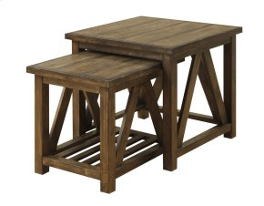 Nesting Tables 2 Pcs-burnished Oak Finish-set Up
