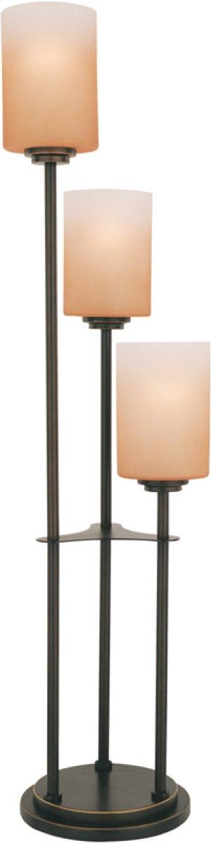 3-lite Table Lamp, Dark Bronze W/amber Glass, E27 A 60wx3
