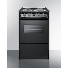 Slide-in Electric Range In Slim 20 Inch Width With Black Porcelain Construction and Oven Window With Light