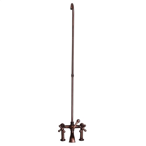 Tub Rim-Mounted Filler with Diverter and Riser - Metal Cross Handles - Oil Rubbed Bronze
