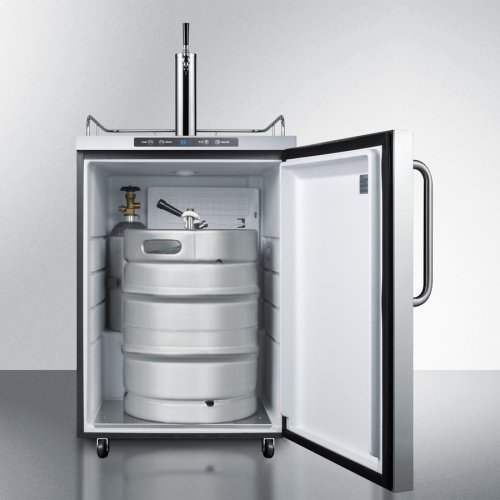 Freestanding Residential Outdoor Beer Dispenser, Auto Defrost With Digital Thermostat, Stainless Steel Wrapped Exterior, and Towel Bar Handle