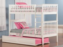 Woodland Bunk Bed Twin over Twin with Raised Panel Trundle Bed in White