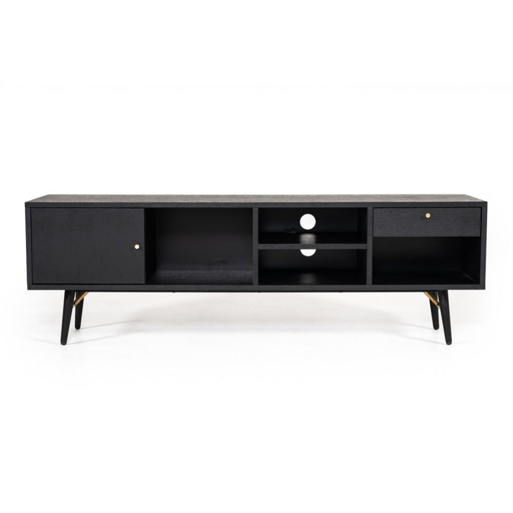 Modrest Billy Modern Black Oak & Gold TV Stand