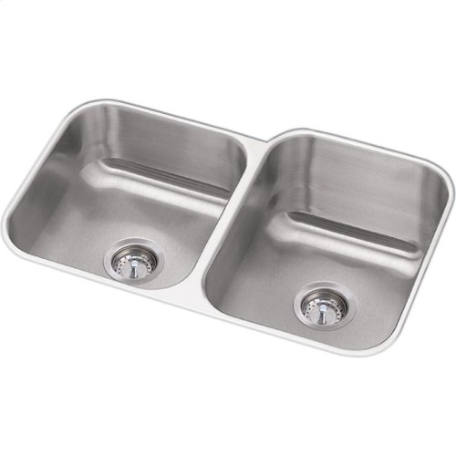 "Dayton Stainless Steel 31-3/4"" x 20-1/2"" x 10"", Offset Double Bowl Undermount Sink and Faucet Kit"