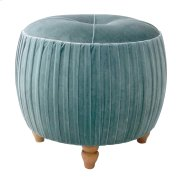 Helena KD Small Round Ottoman Natural Wood Legs, Emerald Product Image