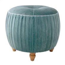 Helena KD Small Round Ottoman Natural Wood Legs, Emerald